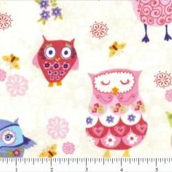 Give A Hoot Fabric Pinky Owls 1 Yard New